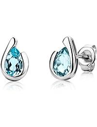 Miore Ladies 9ct White Gold Pear shape Sky Blue Topaz Bezel Earrings MG9244E