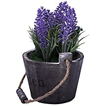 URAQT Florero de Madera + Artificial Flores de Lavanda, Barril de la Vendimia Diseño Florero Planta Plantador, Decoración Iniciar / Interior / Exterior / de la Boda / Jardín ,Color de Violeta