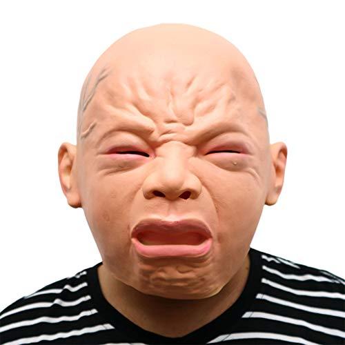 GXDHOME Latex Kopf Maske, Halloween Kostüm Party Cry Baby Maskerade Horror Zombie Ghost Kostüm