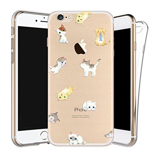 Custodia iPhone 6/6s [Pellicola Protettiva in Vetro Temperato], Yoowei® Design Colorato Cristallo Trasparente Ultra Sottile Morbido TPU Gel Case Cover per iPhone 6/6s 4.7 (UFO) Gatti