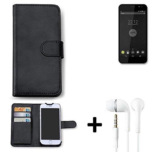 K-S-Trade Hülle für Shift Shift4 Schutz Wallet Case Walletcase schwarz Handytasche Klapphülle inkl. Kopfhörer in Ear Headphones