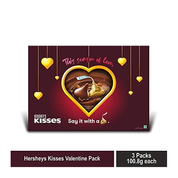 Kisses Hershey's Gift Pack (Assorted Pack 3 Milk 108gm) with Gift Pouch, 3 x 108 g