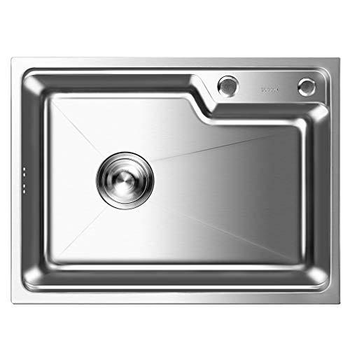 Auralum Küchenspüle Edelstahl Waschbecken Einbauspüle Spülbecken mit 2 Montagelöcher + Ablaufgarnitur