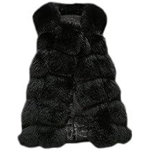9db6b8e4b2a132 Long Gilet Vest Manteau Coat sans Manches en Fausse Fourrure pour Femme