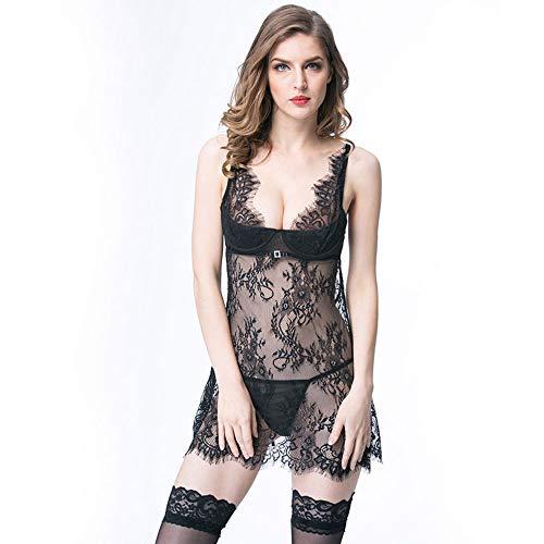 YIZHEN Europäischen und amerikanischen sexy Unterwäsche Knospe Seide Gaze sexy sexy Pyjamas Sling trägerlosen Rücken Kleid, komfortable Persönlichkeit,L