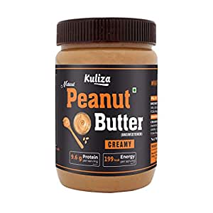 kuliza All Natural Peanut Butter Creamy (Unsweetened, Non-GMO, Gluten Free, Vegan) (500 G)