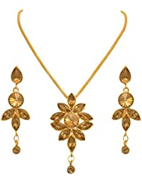 JFL - Traditional Ethnic One Gram Gold Plated Diamond Designer Pendant Set With Earring For Women And Girls.