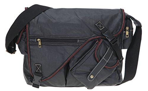 ELEPHANT Kuriertasche SAHARA Laptoptasche Canvas Tasche Notebookmaß 39x28 cm Schultertasche / SCHWARZ -