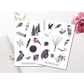 Krähen Sticker Set | Wald Aufkleber | Journal Sticker | Mystische Sticker