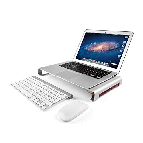 Aluminium-Computer-Monitorständer Mit 4 USB-Displayhalterungen/Computerständer/PC-Tischständer Für Home-Office-Bildschirm Regal Tastatur Lagerung (Silber)