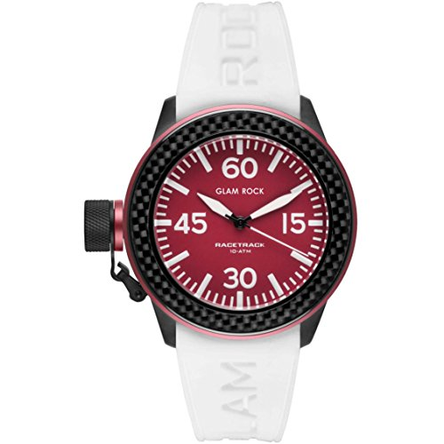 Glam Rock Unisex Racetrack 40mm White Silicone Band IP Steel Case Quartz Red Dial Analog Watch GRT29003F