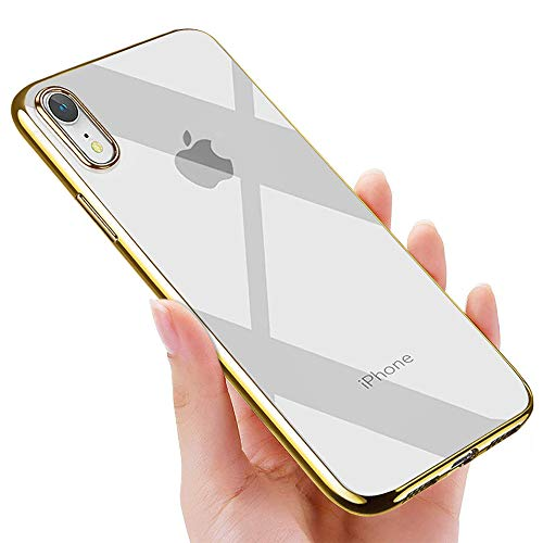 iPhone XR Handyhülle , otutun Crystal Schutzhülle iPhone XR Silikon Hülle Ultra Dünn Stoßfest Anti-Scratch TPU Bumper Case für iPhone XR Case Cover - Gold
