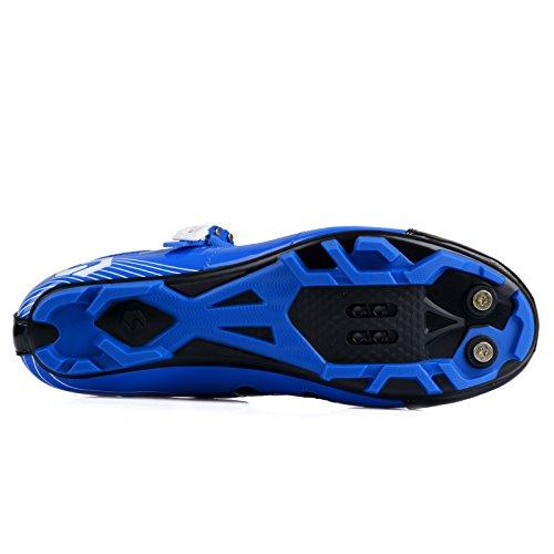 Unisexe respirant chaussures de vélo professionnels pour route et VTT SD-003 Bleu / Noir pour le VTT