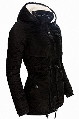 Navahoo Damen Baumwoll Winter Parka Mantel Teddyfell gefütterte Jacke lang B306 Schwarz