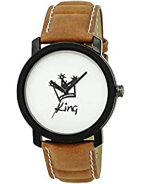 Stylee Lite Amazing Stylish Sport Look King White Dial Stylish Brown Leather Strap Analog Watch For Men & Boys