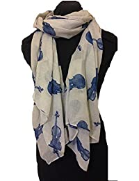 Grey with blue violin scarf Lovely long soft scarf Fantastic Gift
