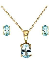 Bijoux pour tous 181P0109-05-135E0016-05 - Juego de joyas de oro amarillo de 9 quilates con topacio azul