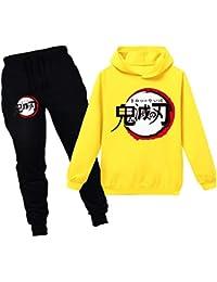 OLIPHEE Demon Slayer Kimetsu No Yaiba Chándales Estampados Disfraz Conjunto Deportivo Anime Sudadera Y Pantalones Largas para Niños