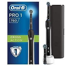 Oral-B Pro 1-760 Spazzolino Elettrico Ricaricabile, 2 Testine, 1 Custodia da Viaggio in Regalo, Nero