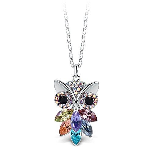 T400 Jewelers Eule Halskette Damen Kette Anhänger mit Swarovski-Kristallen,Geschenke für Frauen Mädchen Damen 45+5CM