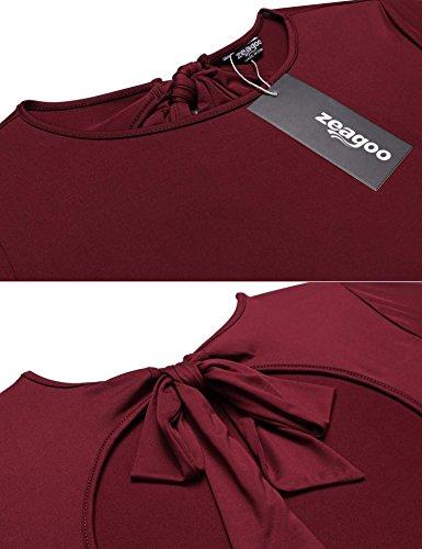 Zeagoo Damen Elegant Rückenfrei Oberteil Tops Rundhals Bluse Shirt mit Trompetenärmeln Langarmshirt Weinrot