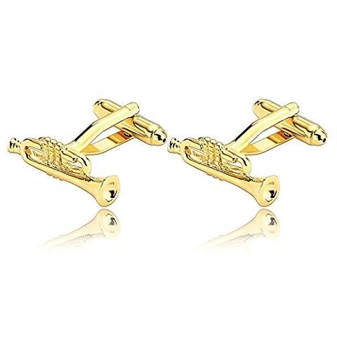 Adisaer Stainless Steel Cufflinks for Men Trumpet Jazz Music Gold