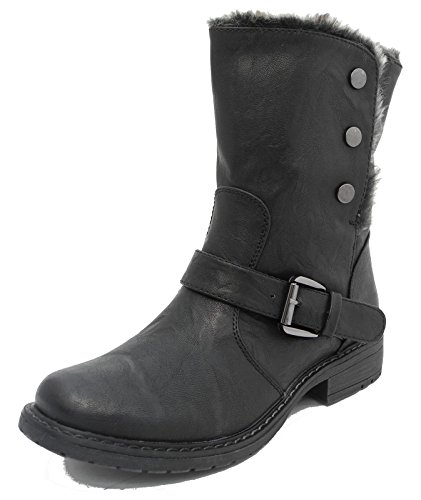 Femme Yeux de chat pliable en cuir look motard doublé en fausse fourrure cheville bottes marron noir taille 345678 Noir - noir