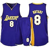 GBYN Traje de Baloncesto para Hombre, Kobe # 24, Lakers, Prendas de Entrenamiento, Tela de Secado rápido con Cuello en V-8-XXS