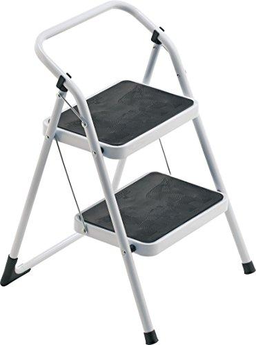 Framar major 2 sgabello, 2 gradini con tappetino antiscivolo, con blocco di sicurezza, portata 150 kg, alluminio, acciaio, bianco, 49 x 51 x 71 cm