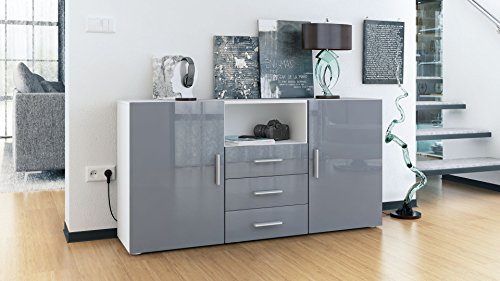 sideboard skadu korpus in wei matt front in grau hochglanz smash. Black Bedroom Furniture Sets. Home Design Ideas