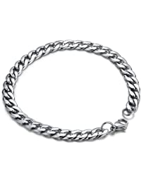 """Stainless Steel Men's Polished Oval Link Chain Bracelet 8.8"""" (Silver Color) G6026Y1"""