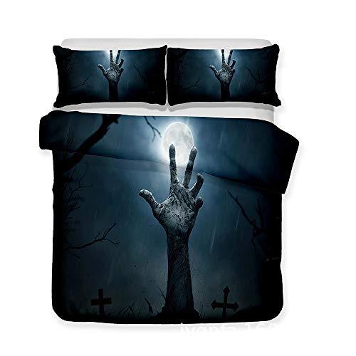 LIYIMING Bedsure Bettwäsche Bettbezug Mit Bettwäsche Mit Reißverschluss, Quilt Set Mit 2 Kissen Fällen Für Halloween (200 x 220 cm,B)