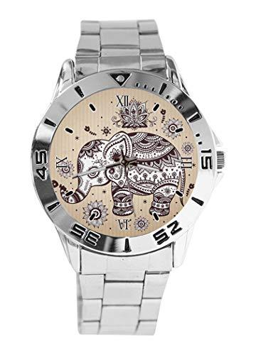 Reloj de Pulsera analógico con diseño de Flores y Elefantes y Esfera...