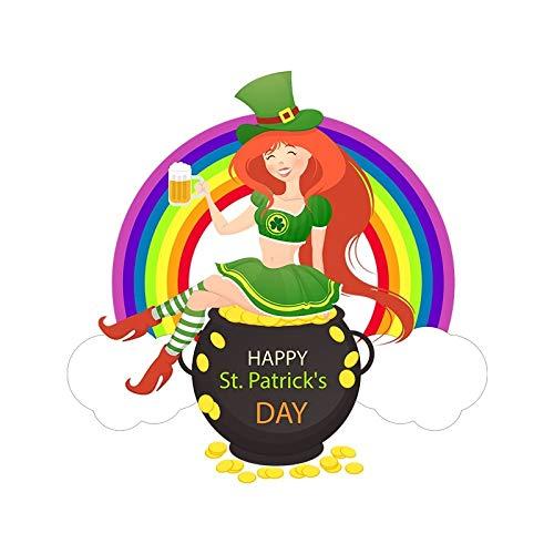 Stickers St.Patrick's Day Home Muraux Décoratifs Autocollants Trèfle Fille Arc-en-Ciel Bière,Couleur,Wcs1061: 44Cm X