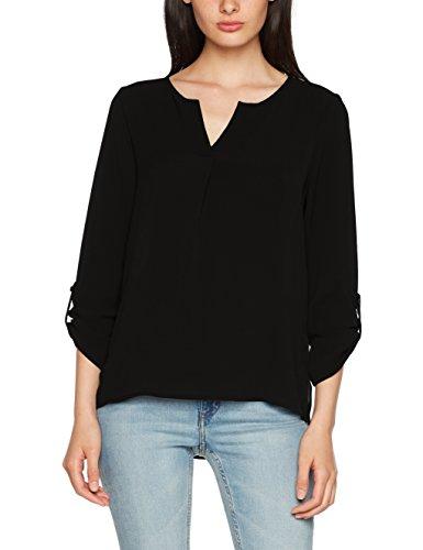 VERO MODA Damen Bluse Vmsasha 3/4 Top A NOOS, Schwarz (Black Black), 36 (Herstellergröße: S)