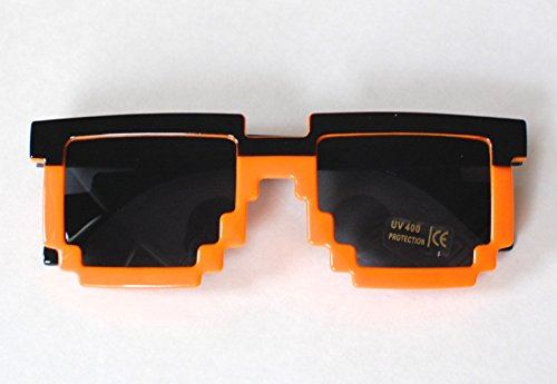 Loot Crate Pixelated 8-bit Orange & Black Retro Sunglasses Exclusive Sonnenbrille