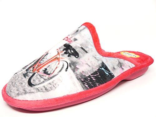 Biorelax , Chaussons pour femme Gris-rouge