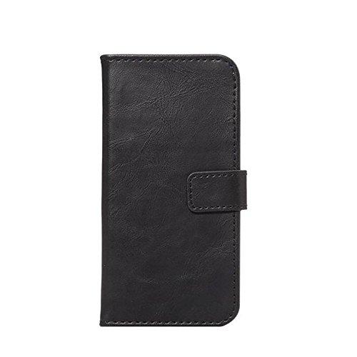 JIALUN-Telefon Fall Horizontale Folio Stand Case Cover mit Kickstand & Card Slots & Magnetische Verschluss für iPhone 7 ( Color : Brown ) Black
