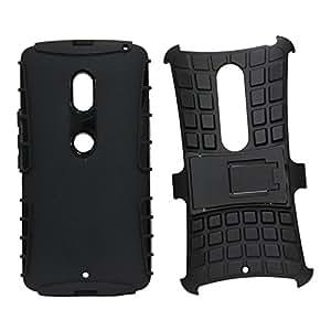 Jo Jo Kick Stand Spider Hard Dual Armor Hybrid Back Case Cover For Motorola Moto 3X Play Black