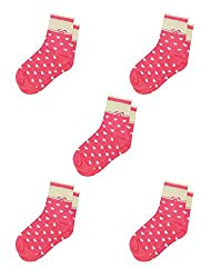 Small , Fuchsia : Generic Women Heart Pattern Contrast Color Ankle High Socks 5 Pairs