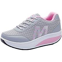 Gtagain Adelgazar Sneakers Zapatillas Plataforma - Malla Transpirable Mujeres Entrenadores Cuñas Plataforma Moda Informal Cordones Rocker