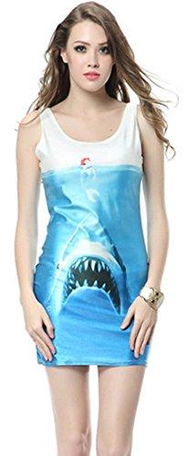 Thenice - Robe - Trapèze - Sans Manche - Femme Multicolore SKULL BLACK Taille Unique Seabed Shark