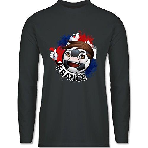 EM 2016 - Frankreich - France Fußballjunge - Longsleeve / langärmeliges T-Shirt für Herren Anthrazit