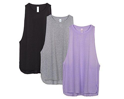 icyzone Sport Tank Top Damen Locker - Yoga Fitness Shirt Racerback Oberteile atmungsaktive (Black/Grey/Lavender, S)