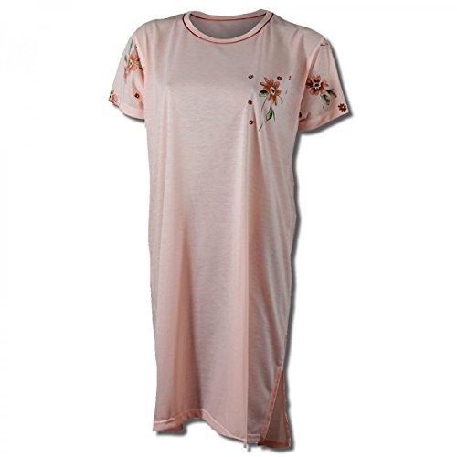 Camicia da notte donna a mezza manica con bel motivo floreale in 8 colori diversi Salmone