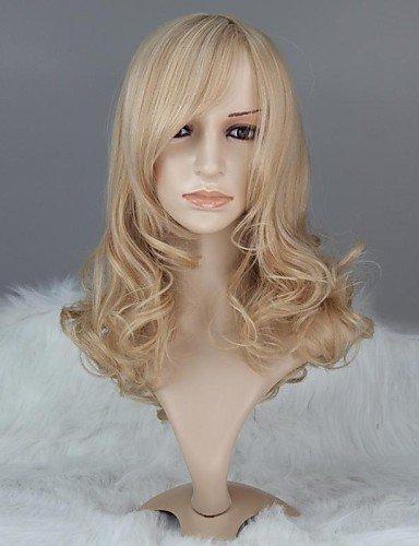 Femmes sans capuchon Fashion Long bouclés Blond cendré mixte perruque synthétique avec Bang