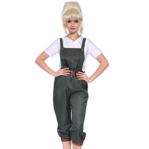 Damen Kostuem Gr.M Gaertnerkostuem Gaertner Weltkrieg II Clubwear Halloween Mottoparty Gaertnerhose + T-Shirt ()