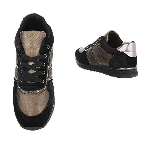 8559b555c719ee ... Ital-Design Sneakers Low Damenschuhe Sneakers Low Sneakers Schnürsenkel  Freizeitschuhe Schwarz G-23