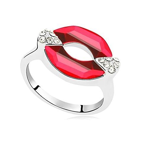 AMDXD Bijoux Plaqué Or Bagues de Fiançailles pour Femme Lip Clair Rouge Taille 52.5