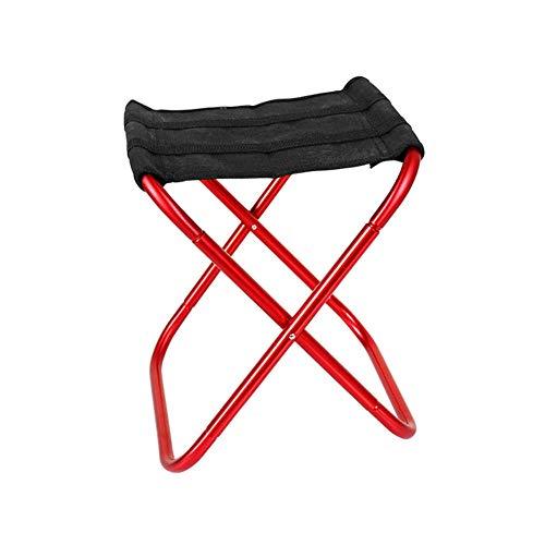 CHENHUI Silla Plegable Taburete Plegable de aleación de Aluminio Silla de Pesca portátil Ligera para Acampar al Aire Libre-Rojo